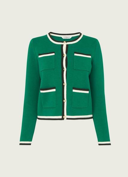 Angie Green Merino-Cotton Cardigan