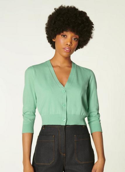 Aurelia Pale Green Cotton Cropped Cardigan