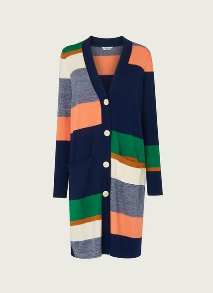 Aurora Stripe Merino Wool-Blend Long Cardigan