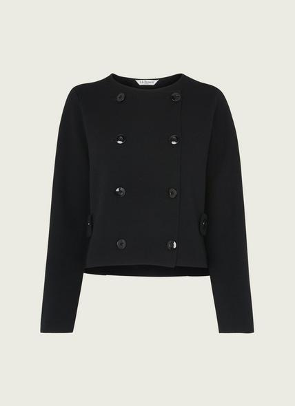 Edna Black Merino Wool-Blend Double-Breasted Cardigan