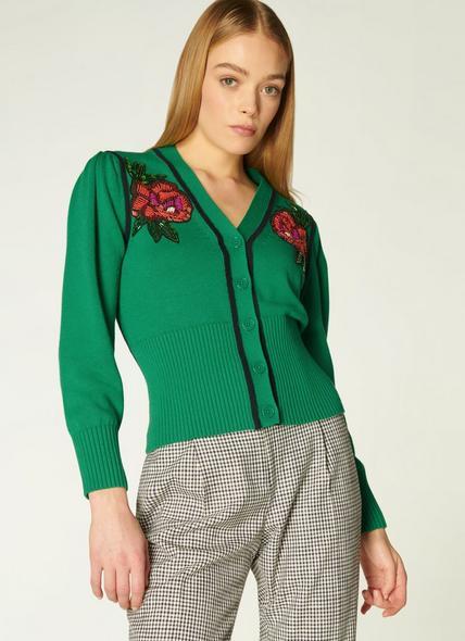Elsie Green Floral Embellished Cardigan