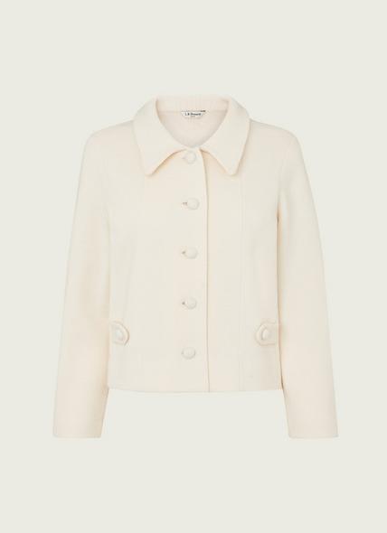 Helen Cream Wool-Blend Milano Stitch Cardigan