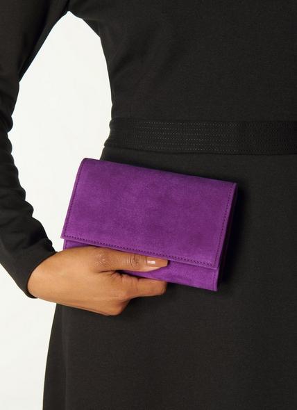 Danni Purple Suede Clutch Bag