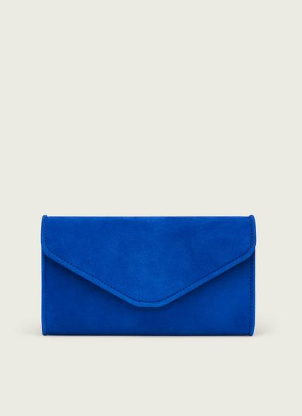 Dominica Blue Suede Clutch Bag
