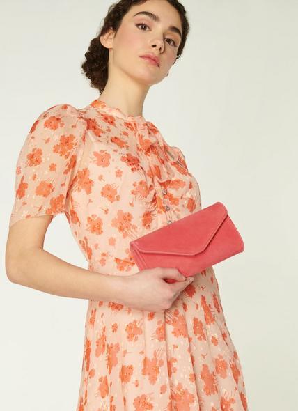 Dominica Pink Suede Clutch Bag