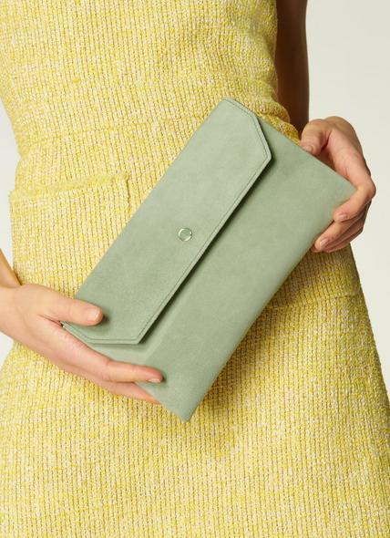 Dora Soft Green Suede Clutch