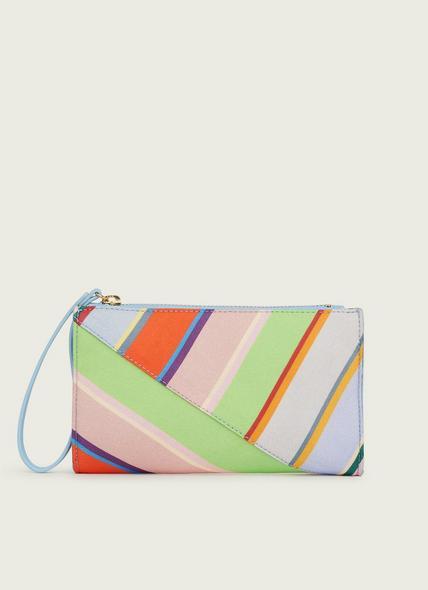 Dune Multi-Coloured Stripe Fabric Clutch