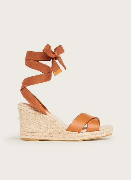 Sofia Tan Leather Espadrilles Wedges