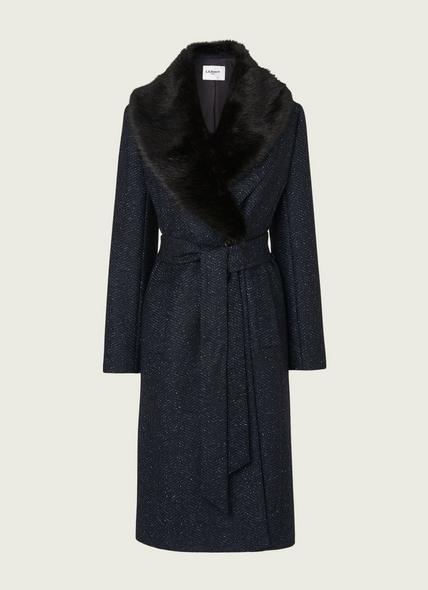 Ava Navy Virgin Wool Mix Coat