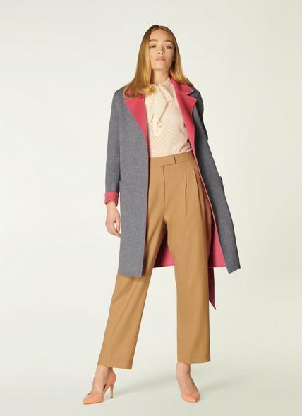 Gabriel Pink Grey Double Faced Wool Coat
