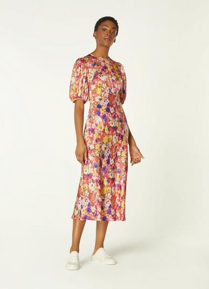 Alice Wildflower Print Silk Midi Dress