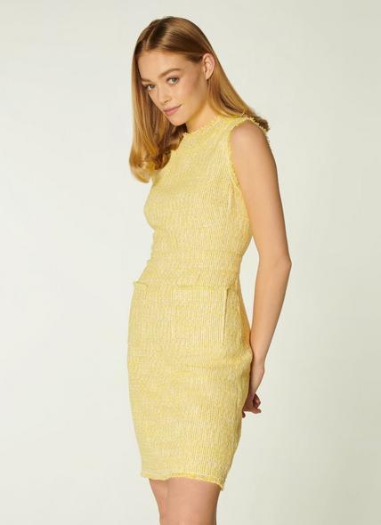 Amalia Yellow Tweed Shift Dress