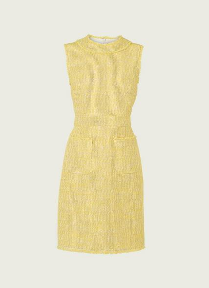 Amalia Yellow Tweed Shift Dress