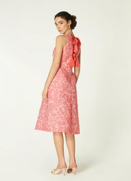 Annabel Pink Floral Jacquard Bow Back Dress