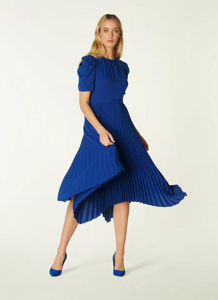 Aveline Blue Pleated Asymmetric Dress