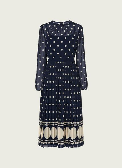 Avery Blue & Cream Spot Print Pleated Midi Dress