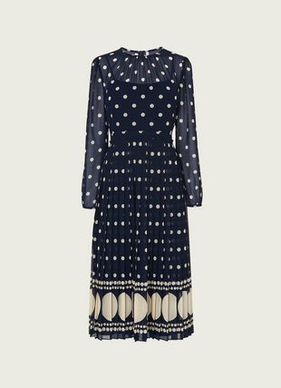 Avery Blue & Cream Spot Print Pleated Midi Dress