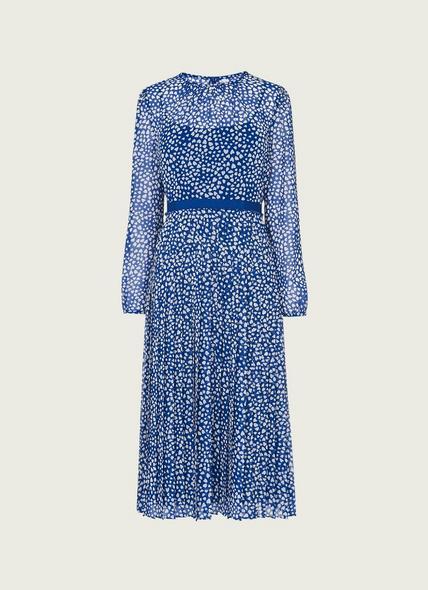 Avery Blue and Cream Heart Print Pleated Midi Dress