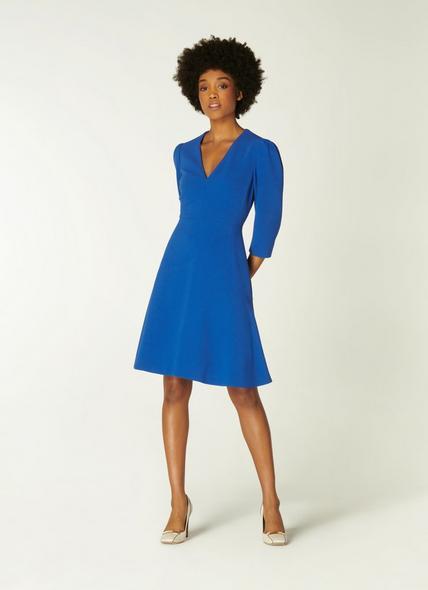 Belle Cobalt Blue Crepe Fit and Flare Dress