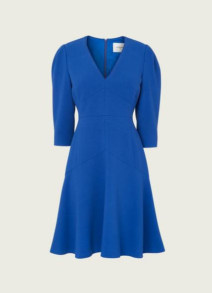 Belle Cobalt Blue Crepe Fit and Flare Dress