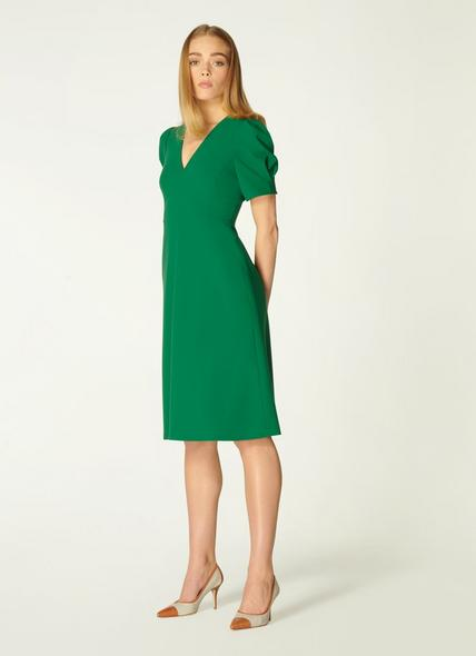 Bettina Green Crepe Fit and Flare Dress