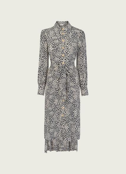 Camilla Cream and Navy Heart Print Silk Shirt Dress