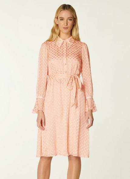 Campbell Pink Dévore Spot Shirt Dress