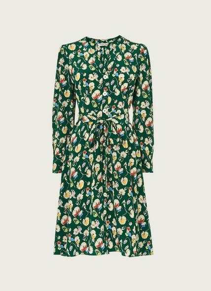 Christy Green Anemone Print Silk Dress