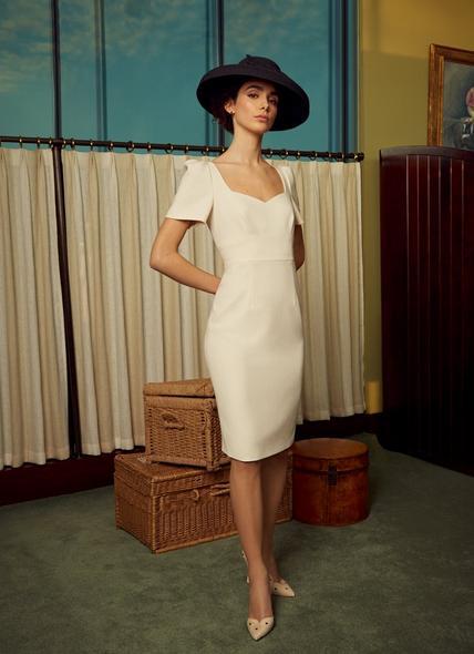 Dee Cream Crepe Shift Dress