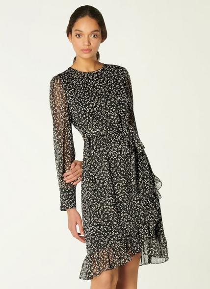 Dion Mini Cheetah Print Frill Hem Dress