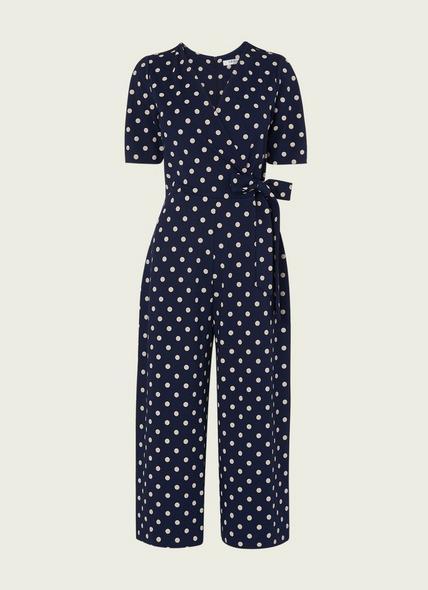 Ellen Navy Spot Print Jersey Jumpsuit
