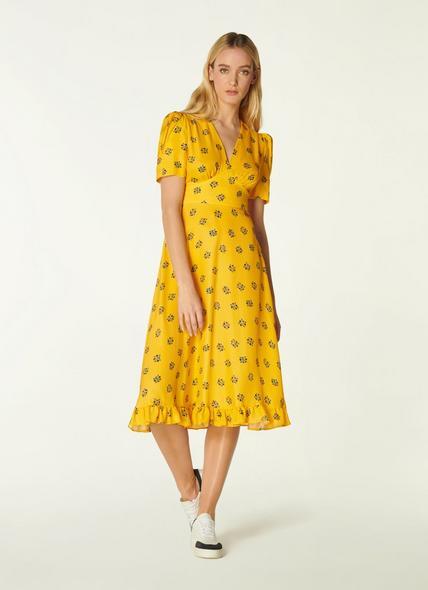 Elson Yellow Posey Print Silk-Blend Tea Dress