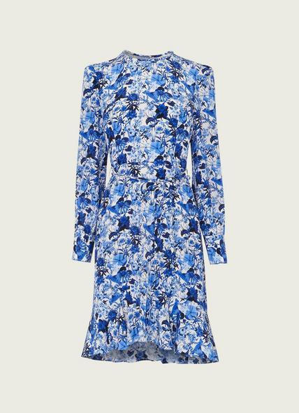 Emylou Blue and White Botanical Print Dress