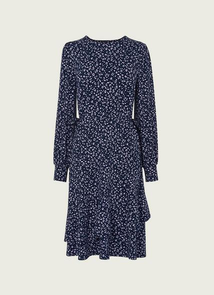 Filippa Navy Cheetah Print Jersey Dress