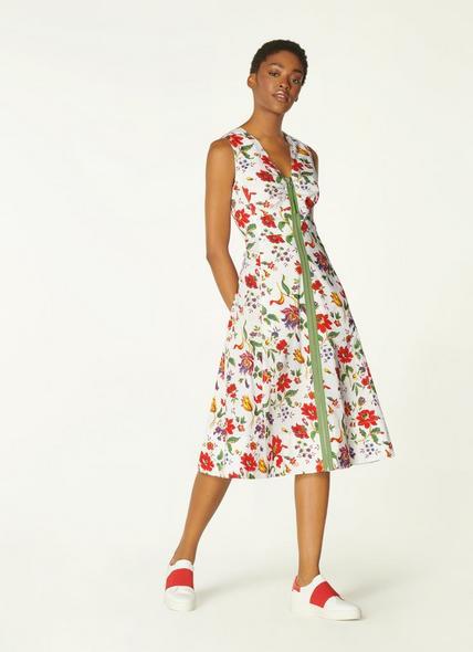 Friday White Romance Floral Stretch Cotton Dress