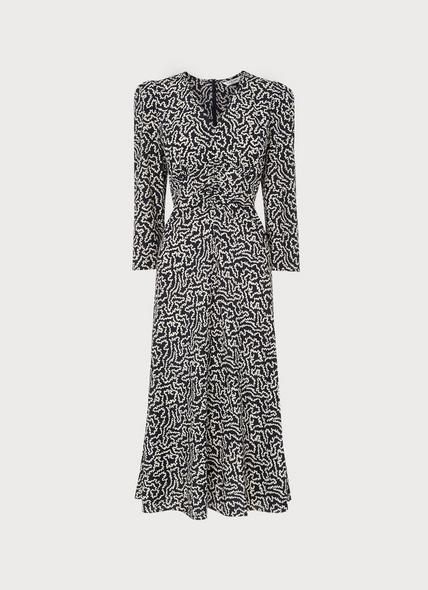 Gabrielle Navy and Cream Coral Print Stretch Silk Dress