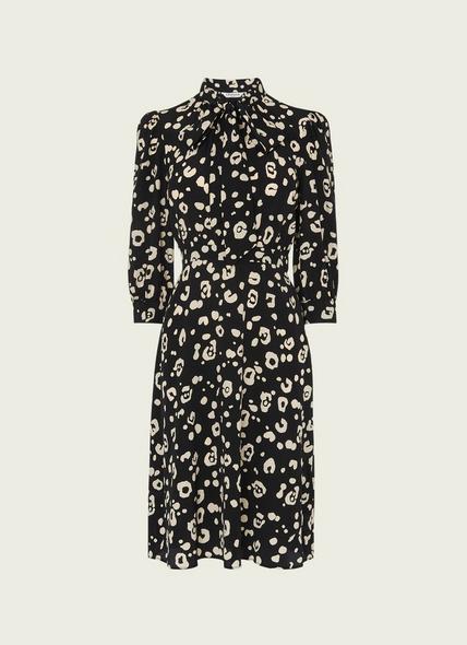 Gigi Cheetah Print Silk Pussy Bow Dress