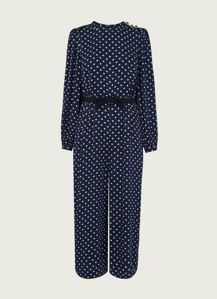 Harriet Navy & Cream Spot Print Jumpsuit