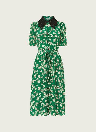 Haskell Green Daisy Print Silk Shirt Dress
