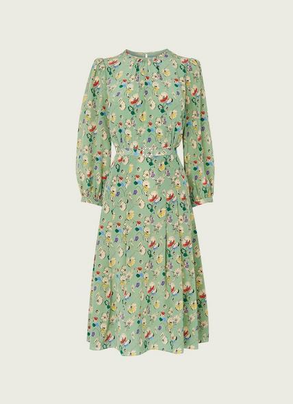 Hektor Green Anemone Print Silk Dress