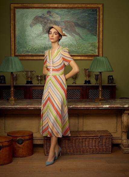 Holzer Candy Stripe Silk Midi Dress