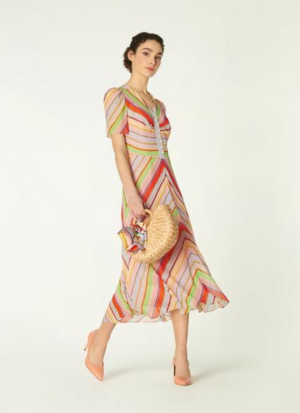 Holzer Candy Stripe Silk Midi Dress