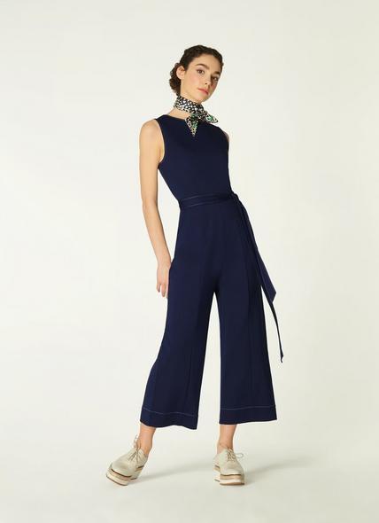 Jen Navy Jersey Stitch Detail Jumpsuit