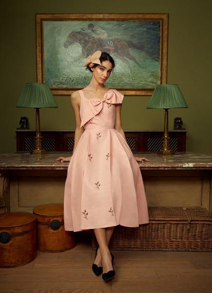 Jolene Pink Taffeta Beaded Dress