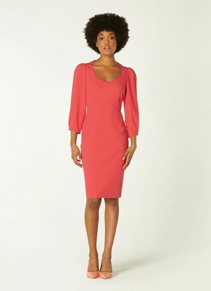 Josephine Pink Crepe Scoop Neck Shift Dress