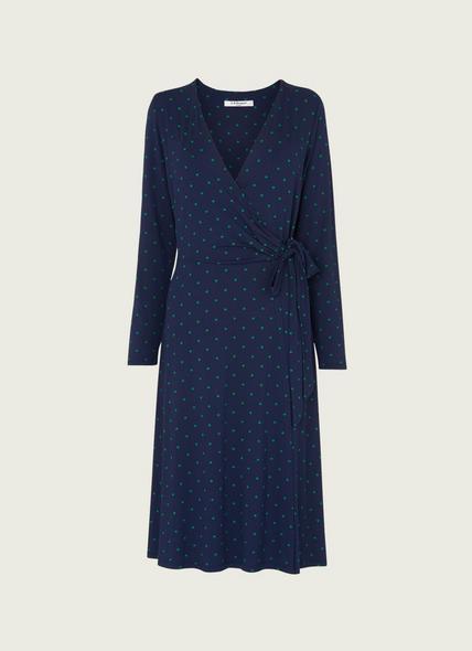 Khloe Navy and Green Spot Jersey Wrap Dress
