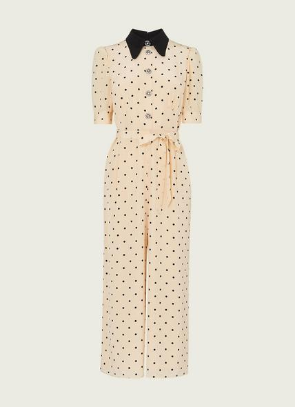 Lena Cream and Black Polka Dot Print Silk Jumpsuit
