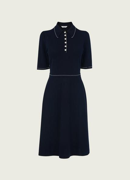 Liv Navy Cotton-Merino Wool Knitted Dress