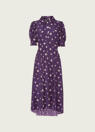 Lotta Purple Daisy Spot Print Silk Jacquard Dress