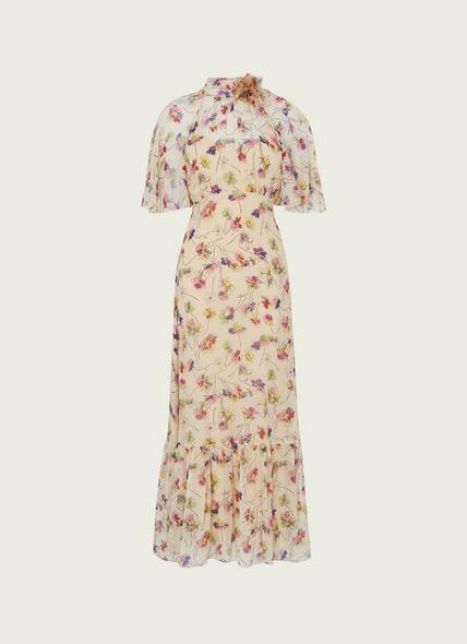 Margot Daisy Print Crinkle Silk Maxi Dress